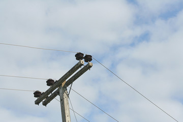 Low Voltage Power Cable and cloudy sky