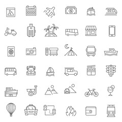 set of traveling icon with thin line style and modern concept, use for print and web, editable stroke