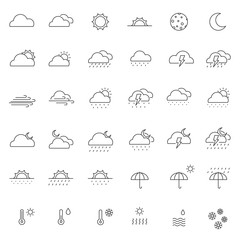 set of weather icon with thin line icon and simple style, editable stroke,