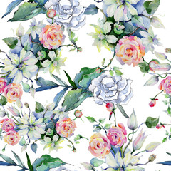 Tender bouquet flowers. Seamless background pattern. Fabric wallpaper print texture. Aquarelle wildflower for background, texture, wrapper pattern, frame or border.