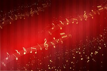 音符と赤の背景