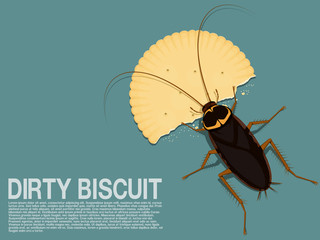 A cockroach is eating a piece of biscuit