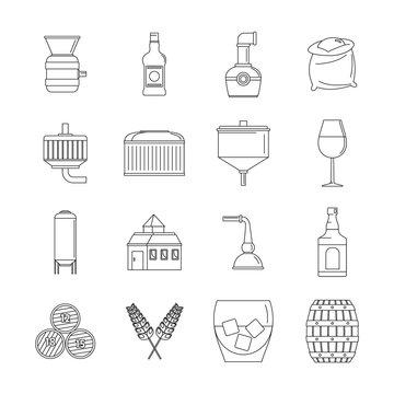 Whisky bottle glass icons set. Outline illustration of 16 whisky bottle glass vector icons for web