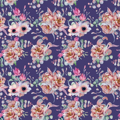 Watercolor floral violet seamless pattern Hand drawn illustration