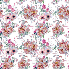 Watercolor floral seamless pattern Hand drawn illustration
