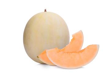 whole and slice honeydew melon(sunlady) isolated on white background