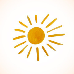 Hand drawn sun isolated on white background. Vector illustration.