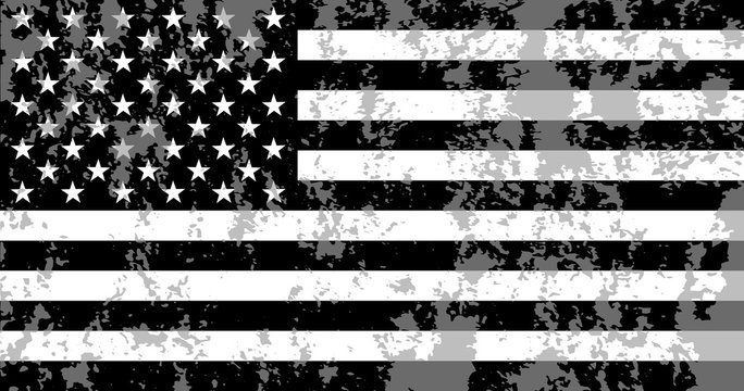 Black , white and gray  American flag. Grunge USA flag. Vector illustration.