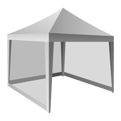 Outdoor white tent mockup. Realistic illustration of outdoor white tent vector mockup for web design isolated on white background