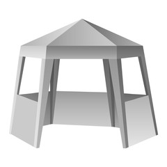 Presentation tent mockup. Realistic illustration of presentation tent vector mockup for web design isolated on white background