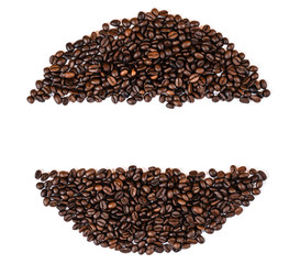 coffee beans top view copy space, white back ground