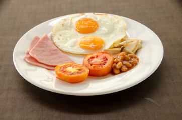 American Blackfast with fried egg.