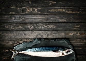 top viewFresh mackerel,fish on stone wood background