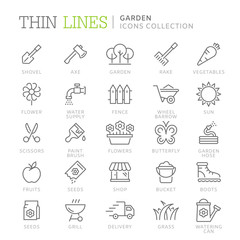 Collection of garden thin line icons