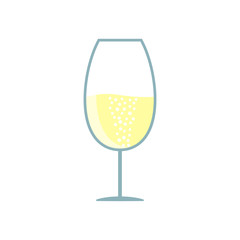 Glass of white wine, champagne isolated on background. Alcoholic drink in cup. Vector flat illustration