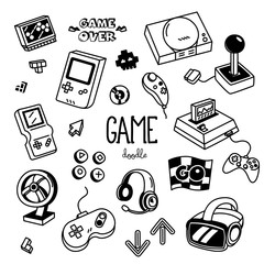 Game doodles. Hand drawing of Game.