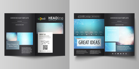 The black colored vector illustration of editable layout of two A4 format modern covers design templates for brochure, flyer, booklet. Molecule structure. Science, technology concept. Polygonal design