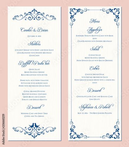 Ornate Wedding Menu Card Swirl Floral Template Classic Vintage
