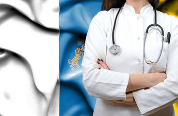 Conceptual image of national healthcare system in Canary Islands