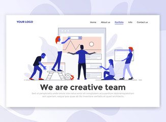 Flat Modern design of Landing page template - Creative team