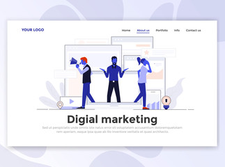 Flat Modern design of Landing page template - Digital Marketing