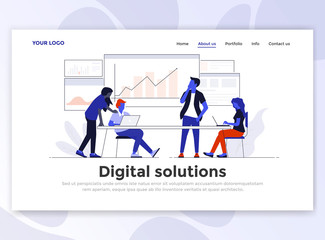 Flat Modern design of Landing page template - Digital Solution