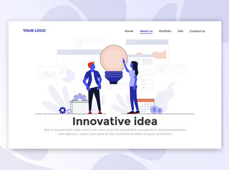 Flat Modern design of Landing page template - Innovative Idea