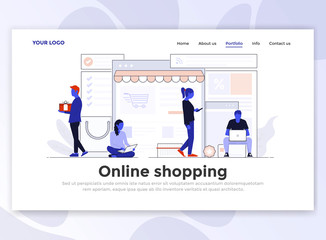 Flat Modern design of Landing page template - Online Shopping