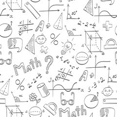 Seamless pattern on the theme of the school, of education and of the subject mathematics, the dark hand-drawn graphics, formulas, and icons on white background