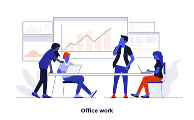 Modern Flat design Concept Illustration - Office Work