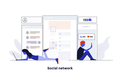 Modern Flat design Concept Illustration - Social Network