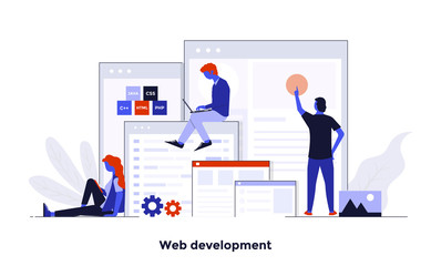 Modern Flat design Concept Illustration - Web Development