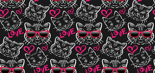 Cats. Modern dark background. Group Cute cats seamless pattern. Vector illustration