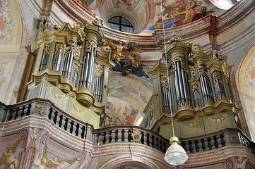 old baroque organ in cathedral, village Krtiny, Czech republic, Europe