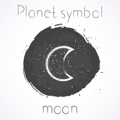 Vector illustration with Hand drawn astrological planet symbol MOON on a grunge ink background. Monochrome.