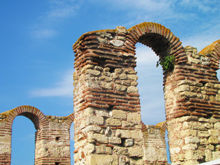 Ruins of the Temple in a summer day, Nessebar, Bulgaria