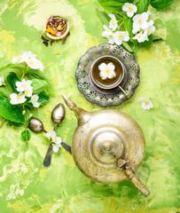 Fototapete - Tea with jasmine