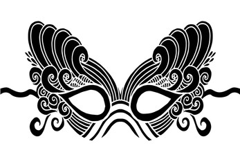 Bohemian Festive Masks. Decorative Vector mask silhouette for adult coloring pages, fashion print, hand drawn ethnic patterned t-shirt print. Boho chic style. Doodle Illustration