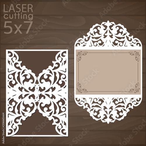 laser cut wedding invitation template vector cutout paper gate fold