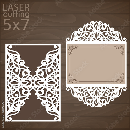 Laser cut wedding invitation template vector cutout paper gate fold laser cut wedding invitation template vector cutout paper gate fold card for laser cutting or m4hsunfo