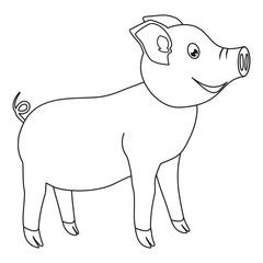 Line art black and white happy pig