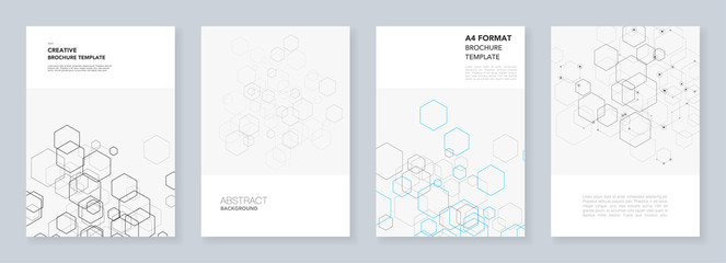 Minimal brochure templates with hexagons and lines on white. Hexagon infographic. Digital technology, science or medical concept.Templates for flyer, leaflet, brochure, report, presentation. Fototapete