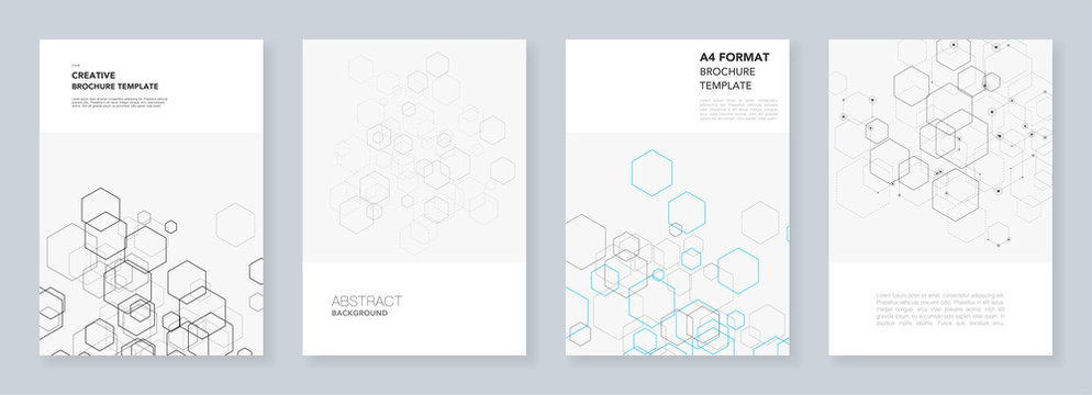 Minimal brochure templates with hexagons and lines on white. Hexagon infographic. Digital technology, science or medical concept.Templates for flyer, leaflet, brochure, report, presentation.