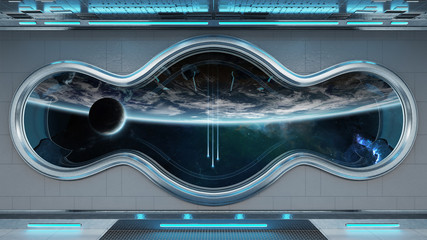 White tech spaceship round window interior background 3D rendering