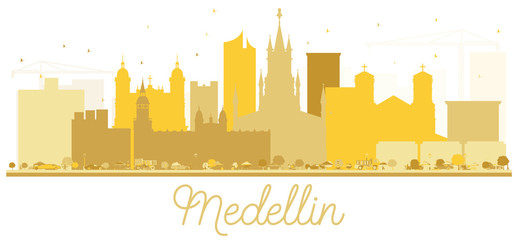 Medellin Colombia City skyline Golden silhouette.
