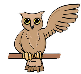 Cartoon Owl Waving