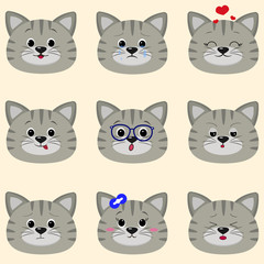 Set of cute gray cat face with different emotions in cartoon style. flat design, vector illustration