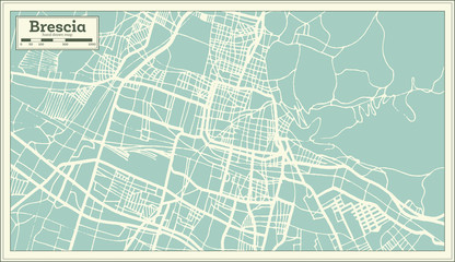 Brescia Italy City Map in Retro Style. Outline Map.