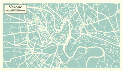 Verona Italy City Map in Retro Style.