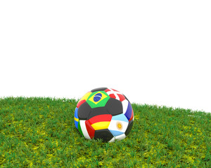 Soccer ball on grass with different flags